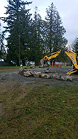 Boulders were installed at Hill Park Tuesday, Jan. 30